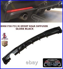 Bmw 3 Series F30 F31 M Sport M Performance Rear Bumper Diffuser Gloss Black
