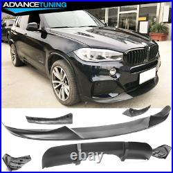 Fits 14-18 BMW F15 X5 M Sport Only Front Bumper Lip & Rear Diffuser Matte Black