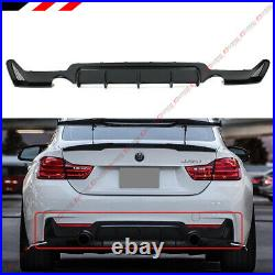 For 14-19 BMW F32 F33 F36 4 Series M Sport Rear Bumper Diffuser Dual Exhaust Tip