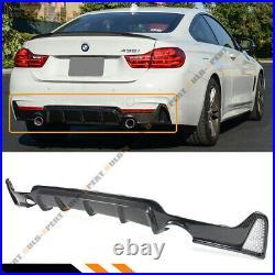 For 14-19 BMW F32 F36 Carbon Fiber M Sport Rear Bumper Diffuser Dual Exhaust Tip
