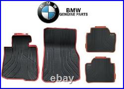 For BMW F32 428i 435i M4 Coupe Front&Rear Black Red All-Weather Floor Mats Sport
