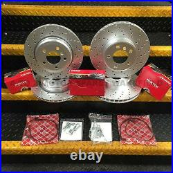 For Bmw E60 530D M Sport front & rear drilled brake discs pads shoes sensors kit