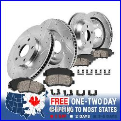 Front And Rear Drilled Slotted Brake Rotors and Ceramic Brake Pads For BMW X5 X6