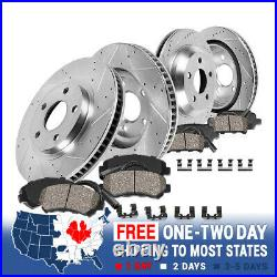 Front+Rear Drill Slot Brake Rotors & Ceramic Pads For 2009 2010 2012 BMW 750