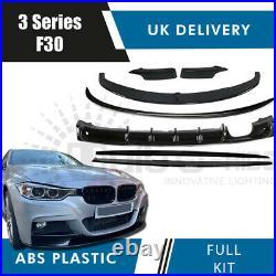 GLOSS BLACK BODY KIT for BMW 3 SERIES F30 SPLITTER DIFFUSER SIDE SKIRTS