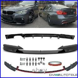 Sport Black Gloss Front Spoiler Splitter + Diffusor fits on BMW F30 F31 M-Sport